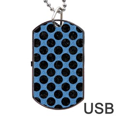 CIRCLES2 BLACK MARBLE & BLUE COLORED PENCIL (R) Dog Tag USB Flash (One Side)