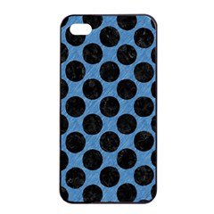 CIRCLES2 BLACK MARBLE & BLUE COLORED PENCIL (R) Apple iPhone 4/4s Seamless Case (Black)