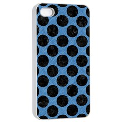 CIRCLES2 BLACK MARBLE & BLUE COLORED PENCIL (R) Apple iPhone 4/4s Seamless Case (White)