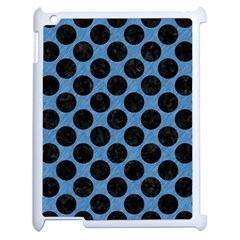 CIRCLES2 BLACK MARBLE & BLUE COLORED PENCIL (R) Apple iPad 2 Case (White)