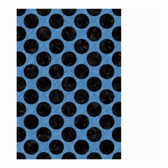 CIRCLES2 BLACK MARBLE & BLUE COLORED PENCIL (R) Small Garden Flag (Two Sides)
