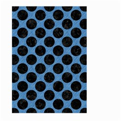 CIRCLES2 BLACK MARBLE & BLUE COLORED PENCIL (R) Large Garden Flag (Two Sides)