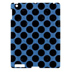 CIRCLES2 BLACK MARBLE & BLUE COLORED PENCIL (R) Apple iPad 3/4 Hardshell Case
