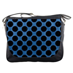 CIRCLES2 BLACK MARBLE & BLUE COLORED PENCIL (R) Messenger Bag