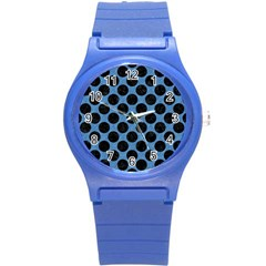 CIRCLES2 BLACK MARBLE & BLUE COLORED PENCIL (R) Round Plastic Sport Watch (S)