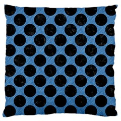 CIRCLES2 BLACK MARBLE & BLUE COLORED PENCIL (R) Large Cushion Case (One Side)