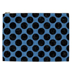 CIRCLES2 BLACK MARBLE & BLUE COLORED PENCIL (R) Cosmetic Bag (XXL)