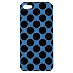 CIRCLES2 BLACK MARBLE & BLUE COLORED PENCIL (R) Apple iPhone 5 Hardshell Case