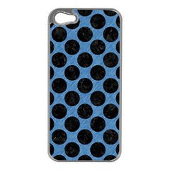CIRCLES2 BLACK MARBLE & BLUE COLORED PENCIL (R) Apple iPhone 5 Case (Silver)