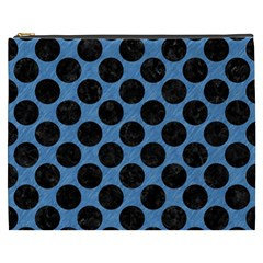 CIRCLES2 BLACK MARBLE & BLUE COLORED PENCIL (R) Cosmetic Bag (XXXL)