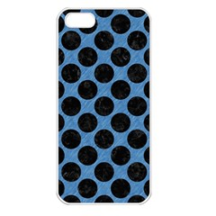 CIRCLES2 BLACK MARBLE & BLUE COLORED PENCIL (R) Apple iPhone 5 Seamless Case (White)