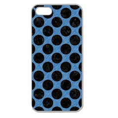 CIRCLES2 BLACK MARBLE & BLUE COLORED PENCIL (R) Apple Seamless iPhone 5 Case (Clear)