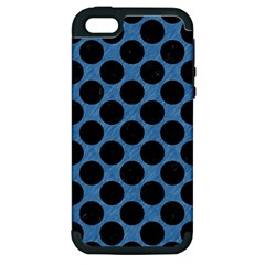 CIRCLES2 BLACK MARBLE & BLUE COLORED PENCIL (R) Apple iPhone 5 Hardshell Case (PC+Silicone)