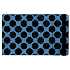 CIRCLES2 BLACK MARBLE & BLUE COLORED PENCIL (R) Apple iPad 3/4 Flip Case