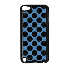 CIRCLES2 BLACK MARBLE & BLUE COLORED PENCIL (R) Apple iPod Touch 5 Case (Black)