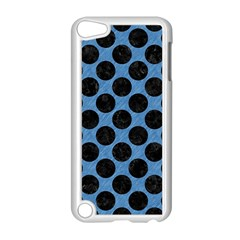 CIRCLES2 BLACK MARBLE & BLUE COLORED PENCIL (R) Apple iPod Touch 5 Case (White)