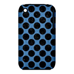 CIRCLES2 BLACK MARBLE & BLUE COLORED PENCIL (R) Apple iPhone 3G/3GS Hardshell Case (PC+Silicone)