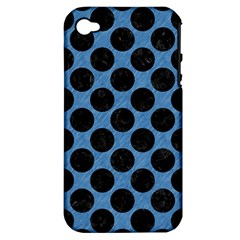 CIRCLES2 BLACK MARBLE & BLUE COLORED PENCIL (R) Apple iPhone 4/4S Hardshell Case (PC+Silicone)