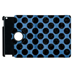 CIRCLES2 BLACK MARBLE & BLUE COLORED PENCIL (R) Apple iPad 2 Flip 360 Case