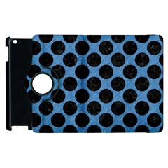CIRCLES2 BLACK MARBLE & BLUE COLORED PENCIL (R) Apple iPad 3/4 Flip 360 Case