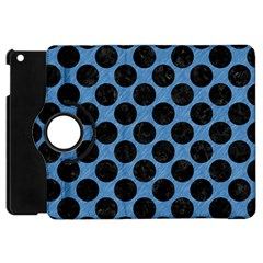CIRCLES2 BLACK MARBLE & BLUE COLORED PENCIL (R) Apple iPad Mini Flip 360 Case