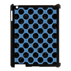 CIRCLES2 BLACK MARBLE & BLUE COLORED PENCIL (R) Apple iPad 3/4 Case (Black)