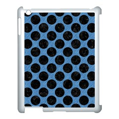 CIRCLES2 BLACK MARBLE & BLUE COLORED PENCIL (R) Apple iPad 3/4 Case (White)