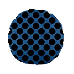 CIRCLES2 BLACK MARBLE & BLUE COLORED PENCIL (R) Standard 15  Premium Round Cushion