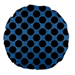 CIRCLES2 BLACK MARBLE & BLUE COLORED PENCIL (R) Large 18  Premium Round Cushion
