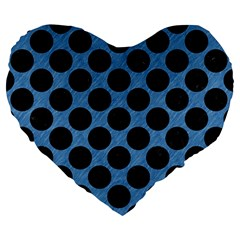 CIRCLES2 BLACK MARBLE & BLUE COLORED PENCIL (R) Large 19  Premium Heart Shape Cushion
