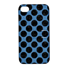 CIRCLES2 BLACK MARBLE & BLUE COLORED PENCIL (R) Apple iPhone 4/4S Hardshell Case with Stand