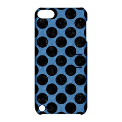 CIRCLES2 BLACK MARBLE & BLUE COLORED PENCIL (R) Apple iPod Touch 5 Hardshell Case with Stand