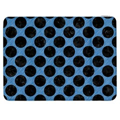 CIRCLES2 BLACK MARBLE & BLUE COLORED PENCIL (R) Samsung Galaxy Tab 7  P1000 Flip Case