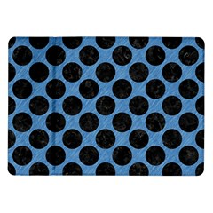 CIRCLES2 BLACK MARBLE & BLUE COLORED PENCIL (R) Samsung Galaxy Tab 10.1  P7500 Flip Case