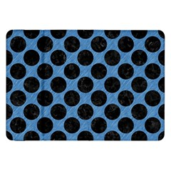 CIRCLES2 BLACK MARBLE & BLUE COLORED PENCIL (R) Samsung Galaxy Tab 8.9  P7300 Flip Case