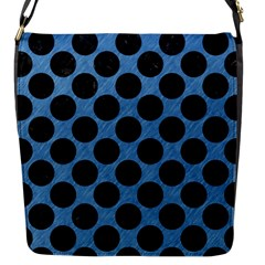 CIRCLES2 BLACK MARBLE & BLUE COLORED PENCIL (R) Flap Closure Messenger Bag (S)