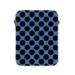 CIRCLES2 BLACK MARBLE & BLUE COLORED PENCIL (R) Apple iPad 2/3/4 Protective Soft Case