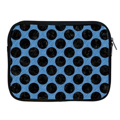 CIRCLES2 BLACK MARBLE & BLUE COLORED PENCIL (R) Apple iPad Zipper Case