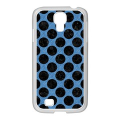 CIRCLES2 BLACK MARBLE & BLUE COLORED PENCIL (R) Samsung GALAXY S4 I9500/ I9505 Case (White)