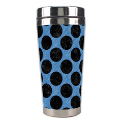 CIRCLES2 BLACK MARBLE & BLUE COLORED PENCIL (R) Stainless Steel Travel Tumbler