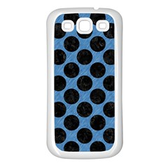 CIRCLES2 BLACK MARBLE & BLUE COLORED PENCIL (R) Samsung Galaxy S3 Back Case (White)