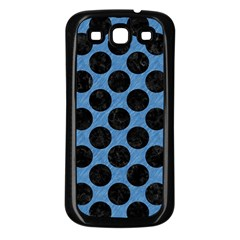 CIRCLES2 BLACK MARBLE & BLUE COLORED PENCIL (R) Samsung Galaxy S3 Back Case (Black)