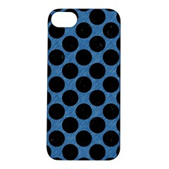 CIRCLES2 BLACK MARBLE & BLUE COLORED PENCIL (R) Apple iPhone 5S/ SE Hardshell Case