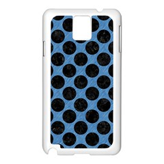 CIRCLES2 BLACK MARBLE & BLUE COLORED PENCIL (R) Samsung Galaxy Note 3 N9005 Case (White)