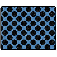 CIRCLES2 BLACK MARBLE & BLUE COLORED PENCIL (R) Double Sided Fleece Blanket (Medium)