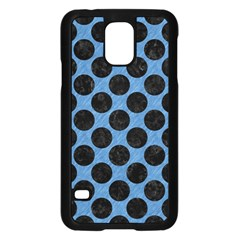 CIRCLES2 BLACK MARBLE & BLUE COLORED PENCIL (R) Samsung Galaxy S5 Case (Black)