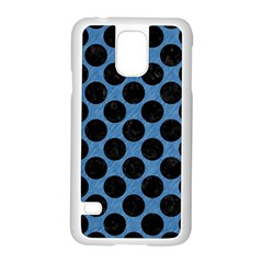CIRCLES2 BLACK MARBLE & BLUE COLORED PENCIL (R) Samsung Galaxy S5 Case (White)