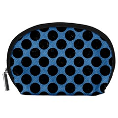 CIRCLES2 BLACK MARBLE & BLUE COLORED PENCIL (R) Accessory Pouch (Large)