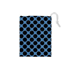 CIRCLES2 BLACK MARBLE & BLUE COLORED PENCIL (R) Drawstring Pouch (Small)