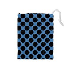 CIRCLES2 BLACK MARBLE & BLUE COLORED PENCIL (R) Drawstring Pouch (Medium)